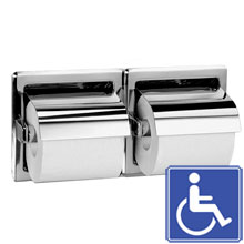 Recessed Hinged Hood Dual Roll Toilet Tissue Dispenser