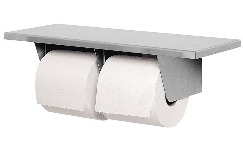 Dual Roll Toilet Tissue Dispenser W Shelf Unoclean