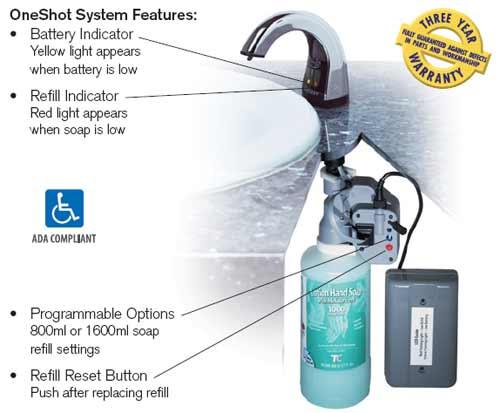 Oneshot Touch Free Liquid Soap Dispenser Chrome Unoclean