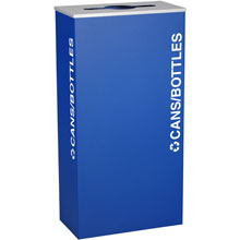 Cans & Bottles Recycling Receptacle Bin Container - 17 Gal - Blue