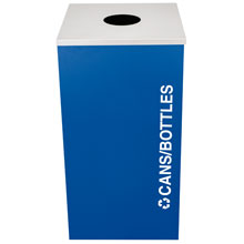 Ex-Cell RC-KDSQ-C-RYX Cans & Bottles Recycling Receptacle Rectangual Container - 24 Gal - Blue EXC-RC-KDSQ-C-RYX