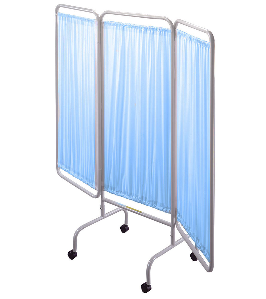 R b wire portable three panel privacy screen blue vinyl for Temporary privacy screen