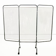 Mobile Three Panel Privacy Screen - Beige