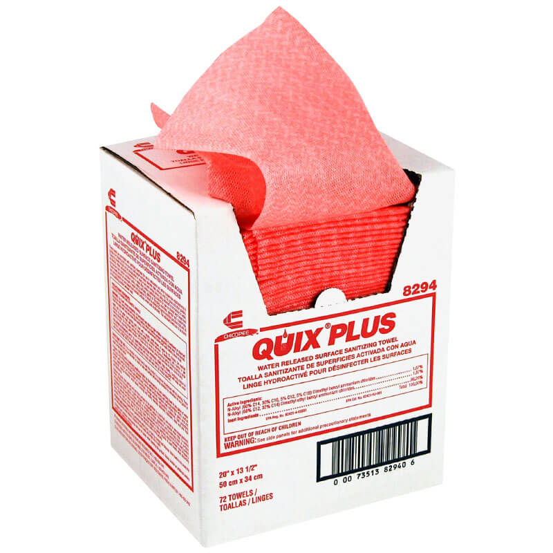 Chicopee Quix® Plus Sanitizing Food Service Towels - Pink - 72 Per Box