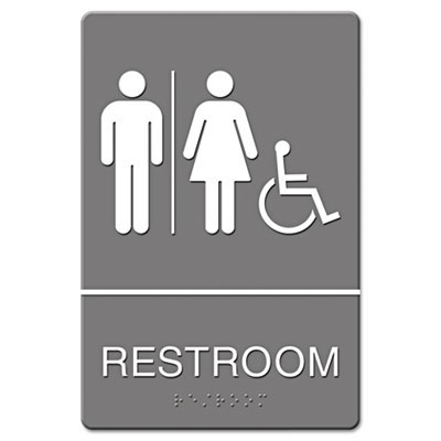 ada sign restroom wheelchair accessible tactile symbol plastic