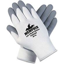 Ultra Tech Foam Seamless Nylon Knit Gloves, Large, White/Gray MCR9674L