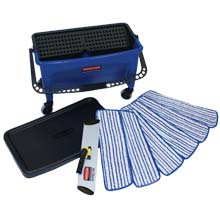 27 Gallon Microfiber Floor Finishing System, Blue/Black/White RCPQ050