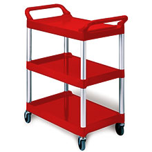 3-Shelf Service Cart, 200-lb Cap. - Red RCP3424-88RED