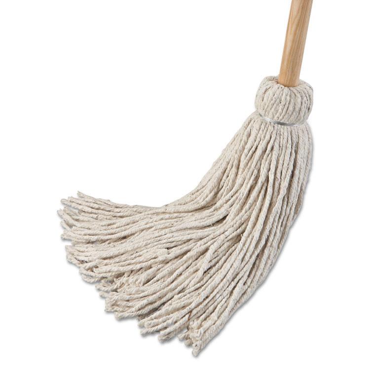 Deck Mop W Wooden Handle 24 Oz Cotton Fiber Head Unoclean