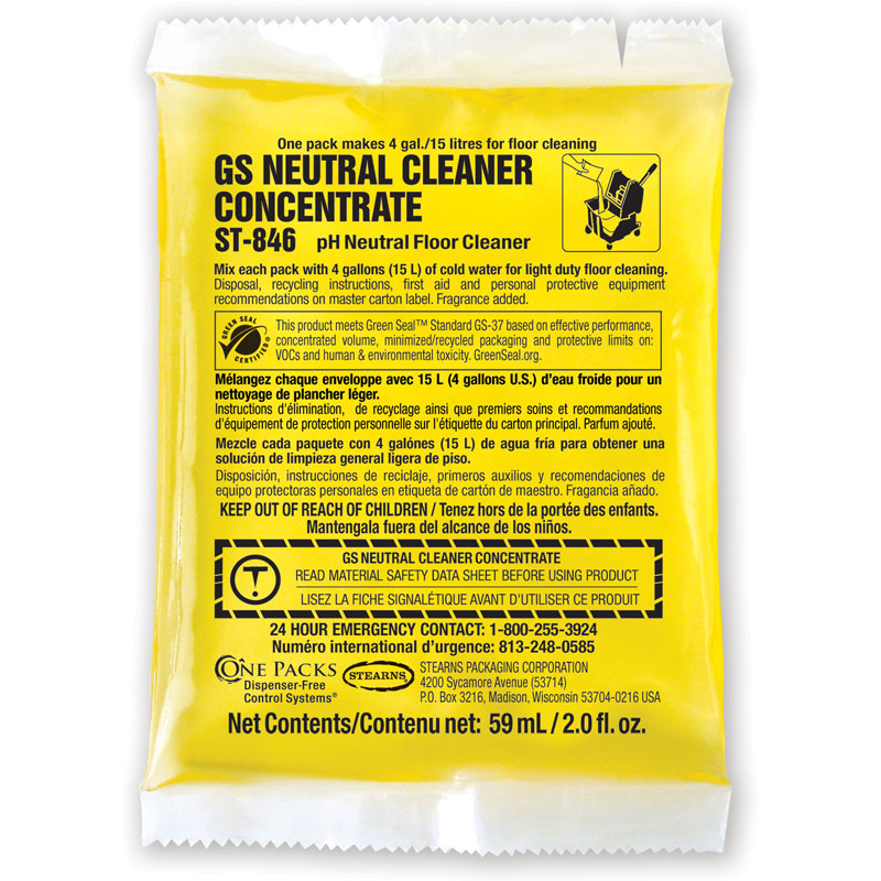 Stearns One Packs ST-846 GS Neutral Cleaner Concentrate