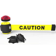 Caution Banner, Yellow - 30' Magnetic Wall Mount w/ Light Kik BST-MH5001L