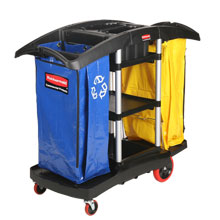 Bi-Bag Waste-Collection Cleaning Cart, 3 Shelves RCP9T79BLA