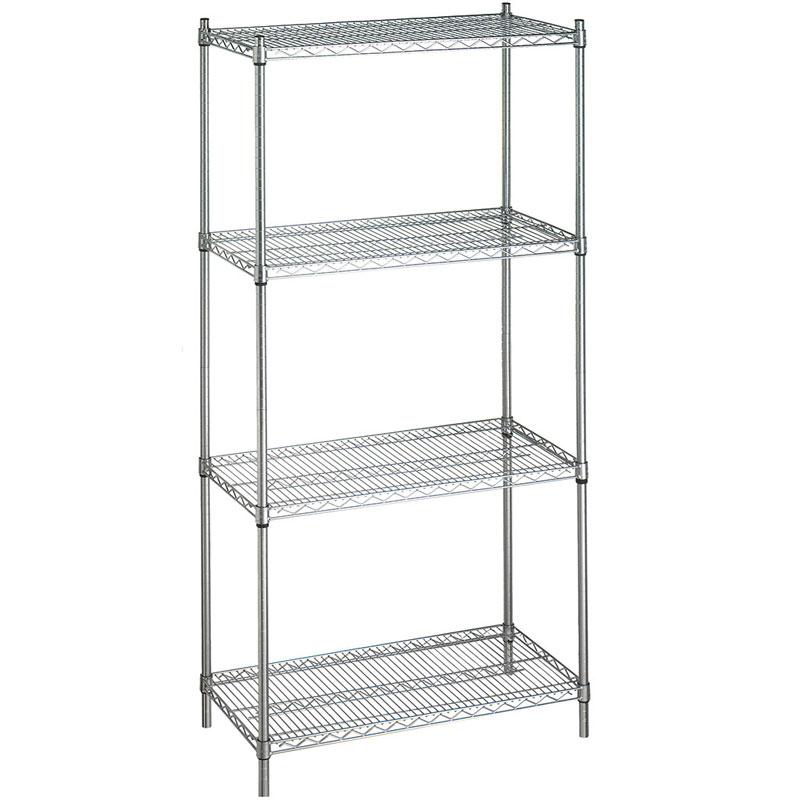 Stationary Adjustable Metal Linen Rack - 4 Wire Shelves - UnoClean