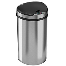 13 Gal. Semi-Round Automatic Trash Can - Stainless Steel HLS13HX