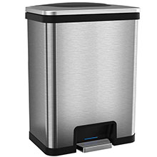 13 Gal. Power Step Sensor Automatic Trash Can - Stainless Steel/Black HLS13SB