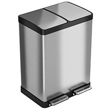 16 Gal. Dual Compartment Step-On Recycle Bin HLSS16R