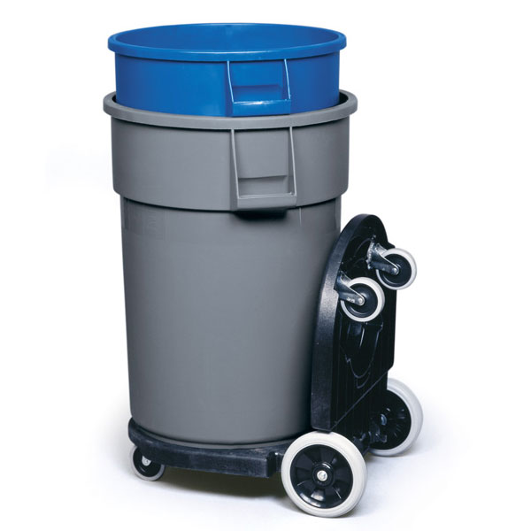 Brute Trash Can Tandem Dolly Black Unoclean
