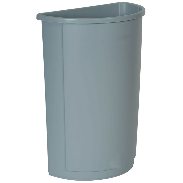 Untouchable Half Round Trash Container 21 Gallon Gray