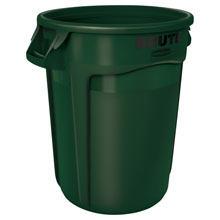 Round Brute Waste Container - Dark Green - 32 Gallon RCP2632DGR