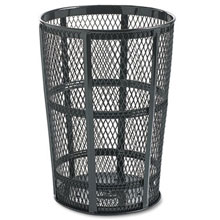 Steel Street Basket Waste Receptacle, Round, Steel, 48 gal, Black RCPSBR52BK