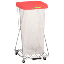 R&B Wire Single Wire X-Frame Hamper Stand - Red Lid