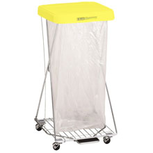 R&B Wire Single Wire X-Frame Hamper Stand - Yellow Lid