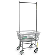 Antimicrobial Wire Frame Laundry Cart w/ Double Pole Rack - 2.5 Bushel