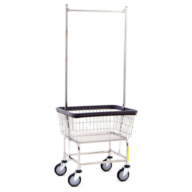 R&B Wire Standard Wire Frame Laundry Cart w/ Double Pole Rack - UnoClean