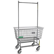 Antimicrobial Large Capacity Laundry Cart w/ Double Pole Rack - 4.5 Bushel
