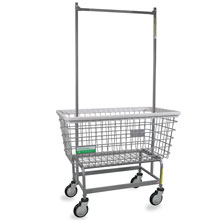 Antimicrobial Mega Capacity Laundry Cart w/ Double Pole Rack - 6 Bushel