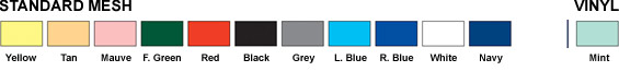 Mesh & Vinyl Liner Bag Color Chart