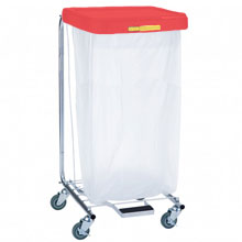 R&B Wire [692] Single Medium Laundry Hamper w/ Foot Pedal - Red