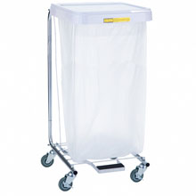 R&B Wire [692] Single Medium Laundry Hamper w/ Foot Pedal - White