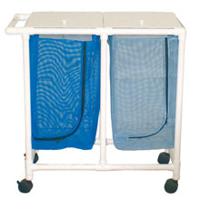 200 Series PVC Plastic Frame Double Laundry Hamper - Mesh Bag - 28 Gallon