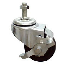"MJM International [R3HD] Replacement Single Wheel Heavy Gauge Steel Threaded Stem Casters - (4) 3"" Dia."