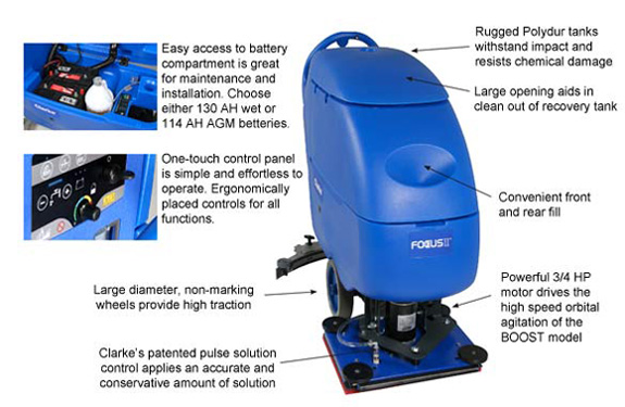 Battery Operated Automatic Floor Scrubber Focus Ii L20