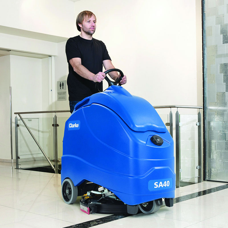 Sa40 Stand On Battery Operated Auto Scrubber 140 Ah Agm