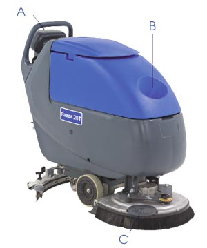 Kent Euroclean Razor 174 20 Wet Acid Battery Floor Scrubber