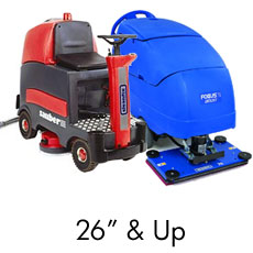 "Large Battery Operated Floor Scrubbers - 26"" & Up"