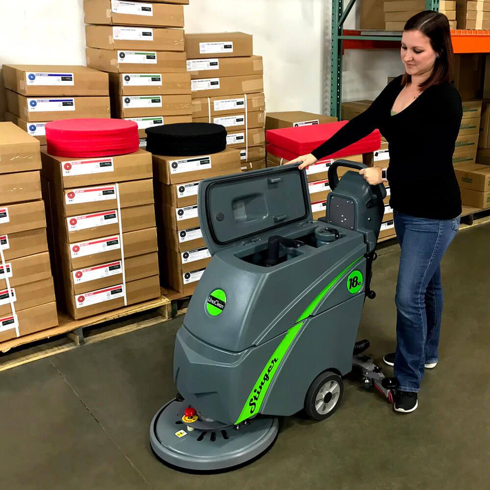 Unoclean 18fse Electric Floor Scrubber Walk Behind Automatic
