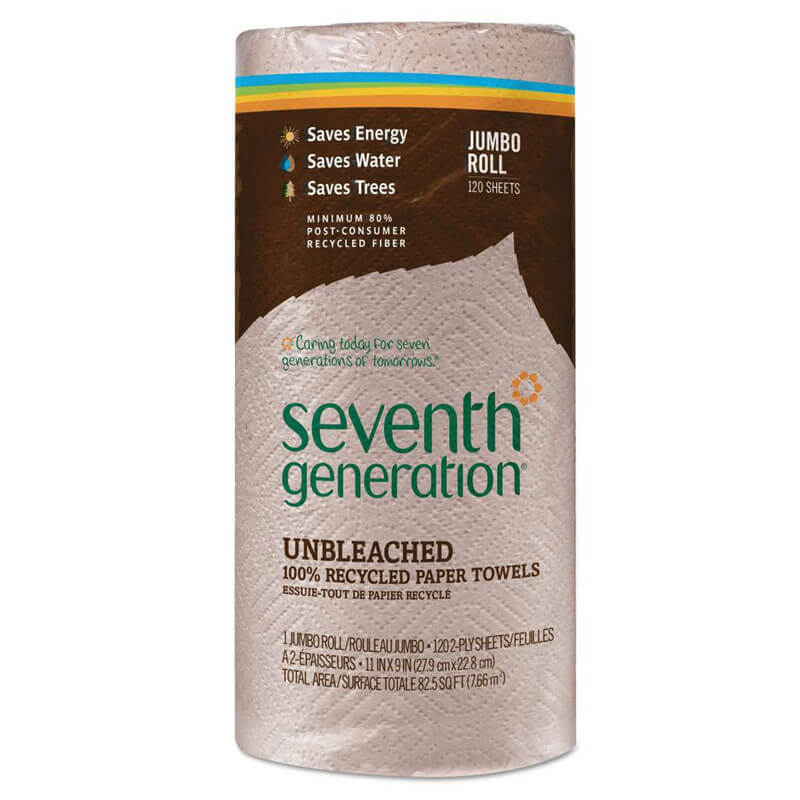 100% Recycled Unbleached Paper Towel Rolls - (30) 120 Towels SEV13720