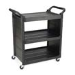 Service Cart, 150-lb Cap., 3 Shelves, Black RCP3421BLA