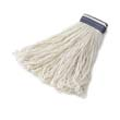 "Looped-End Mop Heads, 24 oz. White Rayon - 1"" Blue Headband - 12 Pack RCPE438-12"